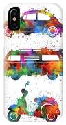 Retro Wheels Watercolor IPhone Case