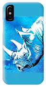 Rhino Animal Decorative Blue Poster 1 - By  Diana Van IPhone Case
