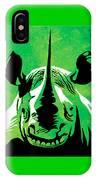 Rhino Animal Decorative Green Poster 5 - By Diana Van IPhone Case