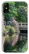 Rhododendrons And Wooden Bridge In Park IPhone Case