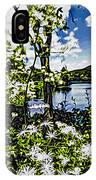 River View Through Flowers. On The Bridge Of Flowers. IPhone Case