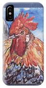Rooster Country Painting On Blue  IPhone Case