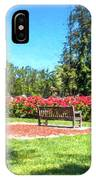 Rose Garden Benches Impressionist Digital Painting IPhone Case