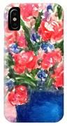 Roses On Blue Vase IPhone Case