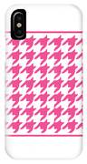 Rounded Houndstooth With Border In French Pink IPhone Case
