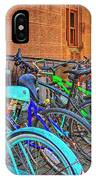 Row Of Student Bikes At Princeton University Nj IPhone Case