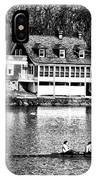 Rowing Past Turtle Rock Light House In Black And White IPhone Case