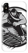 Samoan Ninja On Top Of Coconut Front Circle IPhone Case