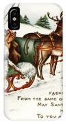 Santa And His Reindeer Greetings Merry Christmas IPhone Case