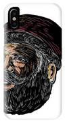 Santa Claus Three-quarter View Scratchboard IPhone Case