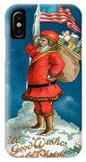 Santa Standing On The Globe IPhone Case
