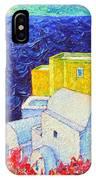 Santorini Oia Colors Modern Impressionist Impasto Palette Knife Oil Painting By Ana Maria Edulescu IPhone Case