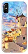Santorini Windmill At Oia Digital Painting IPhone Case