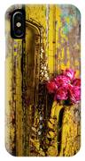 Saxophone And Roses On Wall IPhone Case