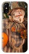 Scarecrow With A Carved Pumpkin  In A Corn Field IPhone Case