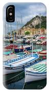 Scenic View Of Castle Hill And Marina In Nice, France IPhone Case