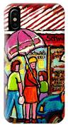 Schwartz's Deli Rainy Day Line-up Umbrella Paintings Montreal Memories April Showers Carole Spandau  IPhone Case
