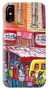 Schwartz's Smoked Meat Deli On The Main Montreal Hockey Art Scenes School Bus Painting C Spandau Art IPhone Case