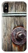 Screw Attached To A Wooden Beam IPhone Case