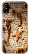 Seahorses And Starfish On Old Letter IPhone Case