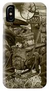 Sepia Toned Old Farmall Tractor In A Grassy Field IPhone Case