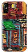 St Viateur Bagel Shop And Mehadrins Kosher Deli Best Original Montreal Jewish Landmark Painting  IPhone Case
