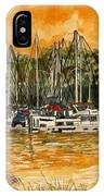 Sienna Sky Boat Marina Nautical Art IPhone Case