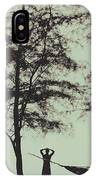 Silhouette Of A Young Men With Crossed Hands Above His Head Camping Hammocking In The Nature IPhone Case