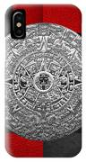 Silver Mayan-aztec Calendar On Black And Red Leather IPhone Case
