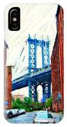 Sketch Of Dumbo Neighborhood In Brooklyn IPhone Case