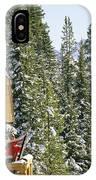 Skiers On Balcony Of Ski Lodge Prepare IPhone Case
