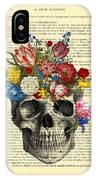 Skull With Flowers Vintage Illustration IPhone Case by Madame Memento