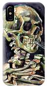 Skull Of A Skeleton With Burning Cigarette IPhone X Case