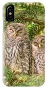Sleeping Barred Owlets IPhone Case