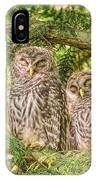 Sleeping Barred Owlets IPhone Case