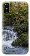 Small River Cascade Over Mossy Rocks In Northern Wales IPhone Case