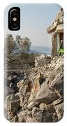 Small White Chapel And A Metal Cross On A Stone Wall Near Cres IPhone Case