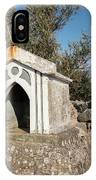 Small White Chapel On A Stone Wall Near Cres IPhone Case