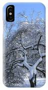 Snow-covered Sunlit Apple Trees IPhone Case