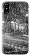 Snowfall In Harvard Square Cambridge Ma 2 Black And White IPhone Case
