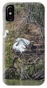 Snowy Egret Confrontation 8664-022018-1 IPhone Case