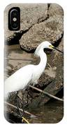 Snowy Egret Fishing IPhone Case