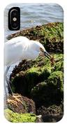 Snowy Egret  Series 2  1 Of 3  The Catch IPhone Case