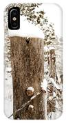 Snowy Fence Post IPhone Case