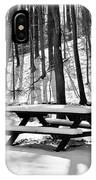 Snowy Picnic Table In Black And White IPhone Case
