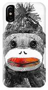 Sock Monkey Art In Black White And Red - By Sharon Cummings IPhone Case