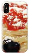 Spaghetti With Tomatoes And Olives Food Background IPhone Case