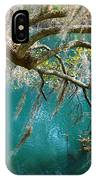 Spanish Moss And Emerald Green Water IPhone Case