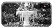 Spanish Moss Fountain With Bromeliads - Black And White IPhone Case