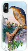 Sparrow Hawk Antique Bird Print Joseph Wolf Birds Of Great Britain  IPhone Case